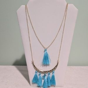Gold 2 Layer tassel necklace